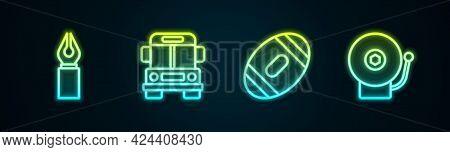 Set Line Fountain Pen Nib, School Bus, American Football Ball And Ringing Alarm Bell. Glowing Neon I