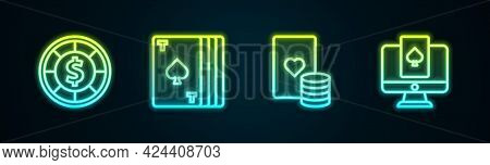 Set Line Casino Chips, Deck Of Playing Cards, And And Online Poker Table Game. Glowing Neon Icon. Ve