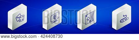 Set Isometric Line Game Dice, Casino Slot Machine With Clover, Deck Of Playing Cards And Cigar Icon.