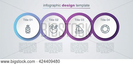 Set Line Pineapple, Coconut Cocktail, Yacht Sailboat And Rubber Swimming Ring. Business Infographic