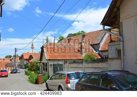 Qvartal Schei. Typical urban landscape of the city Brasov, a town situated in Transylvania, Romania,