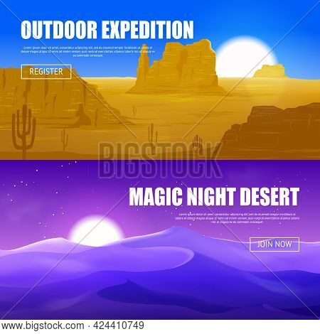 Horizontal Banners Of Desert With Canyon Rocks And Cactus And Beautiful Magic Night In Dune Vector I