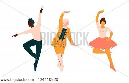 Male And Female Ballet Dancer In Pointe Shoes Dancing Vector Set