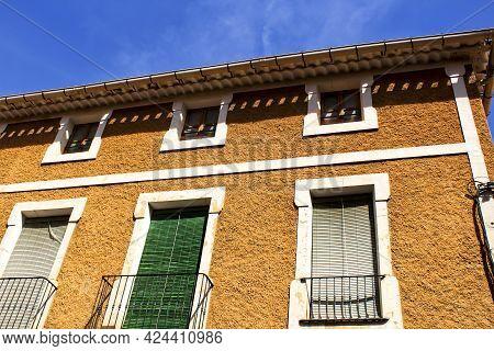 Colorful And Majestic Old House Facade In Caravaca De La Cruz, Murcia, Spain In A Sunny Day Of Sprin