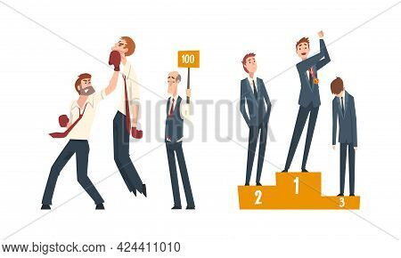 Business Competition And Rivalry With Man Boxing And Gaining Award Vector Set