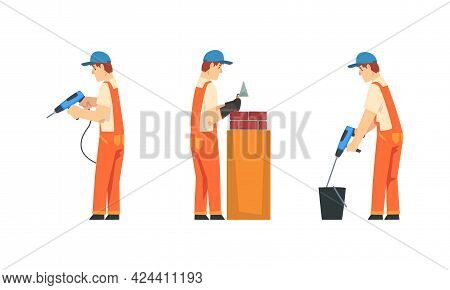 Man Worker In Orange Overall And Blue Cap Laying Brick And Stirring Cement Vector Set