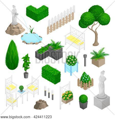 Garden Park Landscape Isometric Elements Set With Plants Flowers Furniture And Statues Isolated On W