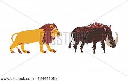 Lion And Boar With Tusks As African Animal Vector Set