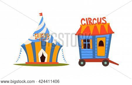 Circus Striped Tent And Wheeled Wagon Vector Set