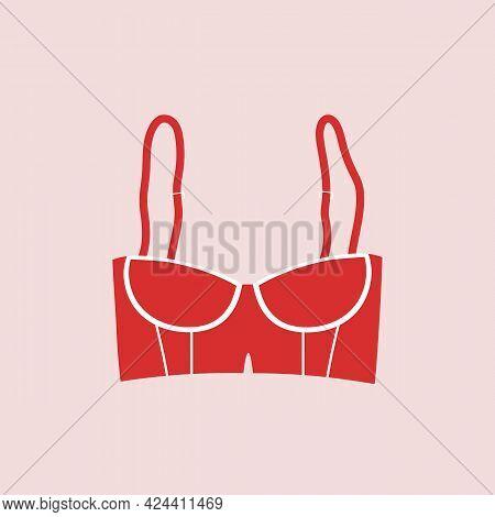 Cute Female Red Bra. Trendy Corset Bra Icon. Women Underwear Element. Feminine Symbol, Template Mode