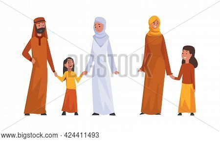 Happy Traditional Arabic Family In Hijab Outfit Spending Time With Kids Vector Set
