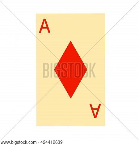 Playing Card Icon With Ace Of Diamonds. Vector Clip Art