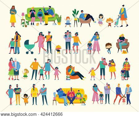 I Love My Family. Cute Vector Illustration With Mother, Father, Daughter. Happy Parents And Children