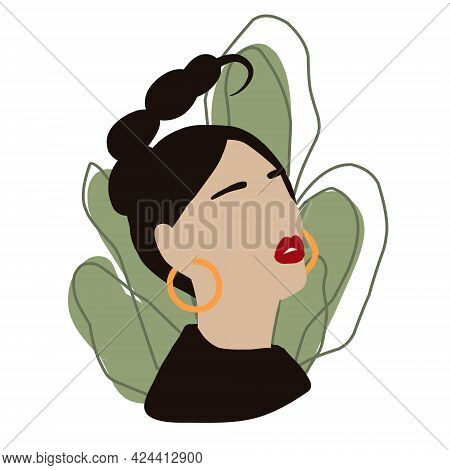 Abstract Woman Portrait In Minimal Style. Fashion Female Face. Scorpio Zodiac Girl In Green Leaves