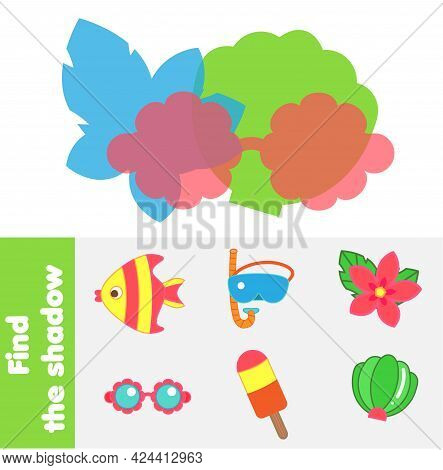 Shadow Matching Game. Kids Activity With Summer Beach Objects. Silhouette Fun Page For Toddlers