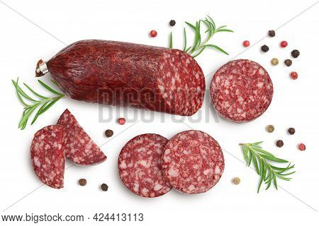 Smoked Sausage Salami With Slices Isolated On White Background With Clipping Path And Full Depth Of