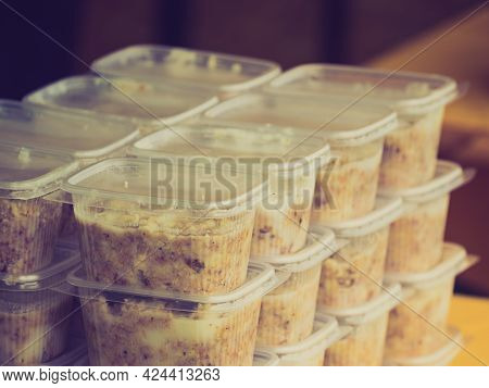 Lard Animal Fat In Plastic Boxes Containers At Shop, Traditional Ingredient Made Of Animals Pork.