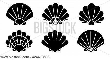 Sea Shell Icon. Set Of Pearl Shell Icons. Vector Illustration. Shell Vector Icons. Black Seashell Ic