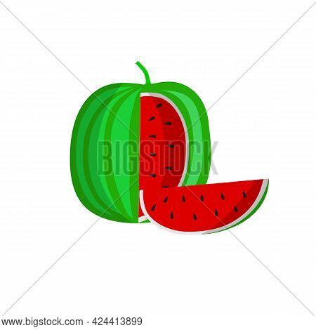 Watermelon Flat Design Illustration. . Watermelon With Red Flesh Is Halved Isolate On A White Backgr