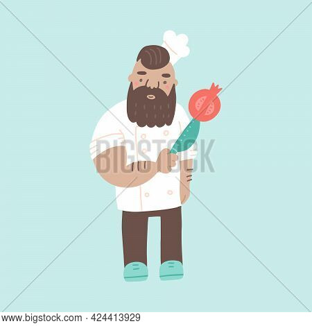 Cute Brutal Chef In Hat Cartoon Character. Cook With A Knife And Pomegranate In Traditional Uniform.