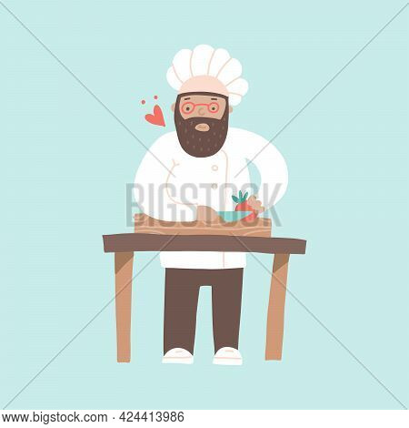 Smiling Chef Cuting Vegetables With A Knife, Preparing Dishes With Love. Heart Flyes Around Him. Hap