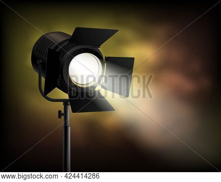 Classical Cinematographic Movie Shooting Realistic Spotlight Poster With Dark Blurry Misty With Smok
