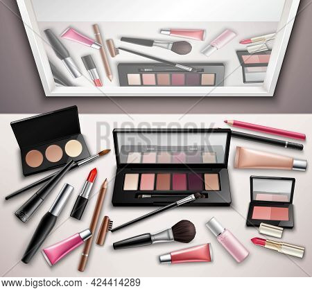Makeup Work Space Accessories Realistic Top View Image With Eye Shadows Shades Set And Mirror Reflec
