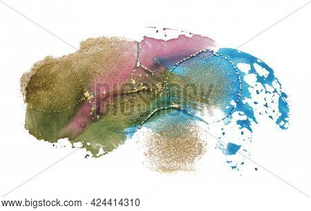 Art Abstract  watercolor and acrylic flow blot painting on white. Color and gold horizontal canvas texture background.