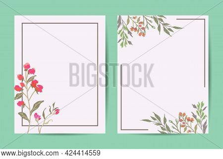 Vector Floral Greenery Card Design: Forest Fern Frond Eucalyptus Branch Green Leaves Foliage Herb Gr