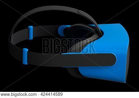 Virtual Blue Reality Glasses Isolated On Black Background. 3d Rendering Of Goggles For Virtual Desig