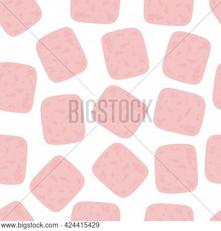 Seamless Pattern With Slices Of Ham, Delicious Breakfast, Food For Breakfast, Lunch Or Dinner, Flat