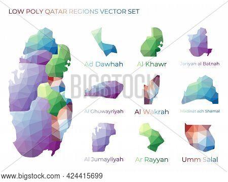 Qatari Low Poly Regions. Polygonal Map Of Qatar With Regions. Geometric Maps For Your Design. Authen