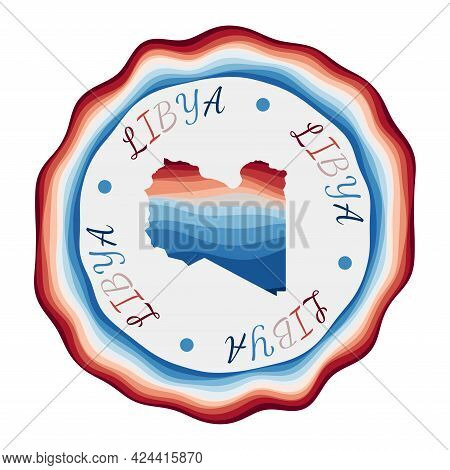 Libya Badge. Map Of The Country With Beautiful Geometric Waves And Vibrant Red Blue Frame. Vivid Rou