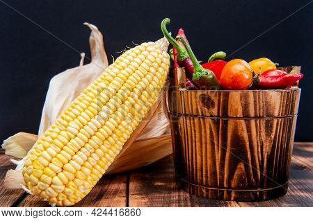Fresh Corncob With Peppers And Tomatoes Organic Vegetables Natural Food In Wooden Bucket, Mexican