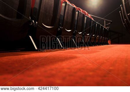 Empty Rows Of Seats In The Auditorium Without People