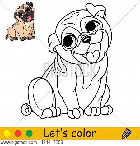 Cartoon Cute Sitting Dog Pug Coloring Book Vector