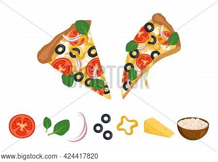 A Slice Of Pizza With Melted Dripping Cheese, Tomatoes, Olives And Basil And Ingredients For Cooking