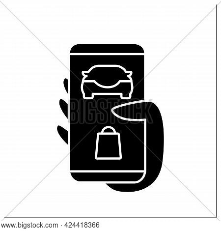 Application Glyph Icon. Tracking Order. Curbside Pickup Mobile App. Online Ordering And Delivery. Co