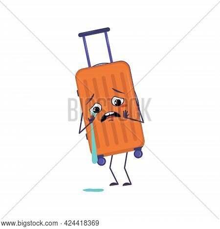 Cute Character Of Vacation Suitcases With Crying And Tears Emotions, Face, Arms And Legs. The Funny