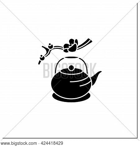 Japanese Teapot Glyph Icon. Ancient Kettle For Tea Ceremony And Sakura Twig. Trendy Traditional Teap