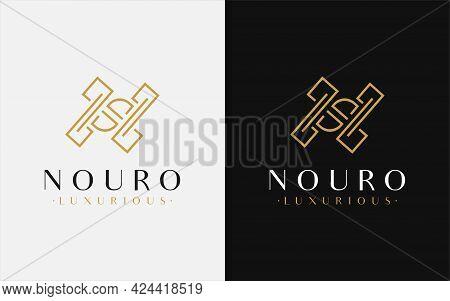 Luxury Initial Letter N Logo Design With Modern Golden Lines Shape Combination. Monogram Logo Illust