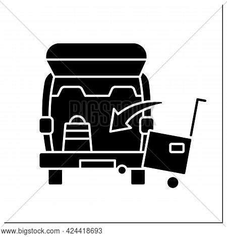 Curbside Pickup Glyp Icon. Transporting Big Cargo Into Car Trunk. Delivery Parcel Box. Contact-free