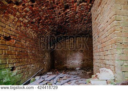 Abandoned Empty Old Dark Underground Vaulted Cellar.