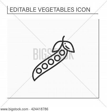 Peas Line Icon. Fresh Vegetable. Dietary Food. Vegetarian, Healthy Nutrition. Health Benefits. Agric