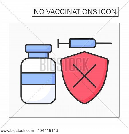 Unprotected Color Icon. Vaccine Does Not Protect From Covid19. Unhealthy.no Vaccinations Concept. Is