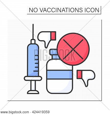 Vaccine Color Icon. Bad Influence On Health. People Avoid Vaccination. No Vaccinations Concept. Isol