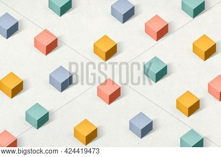 3D colorful paper craft cubic patterned background