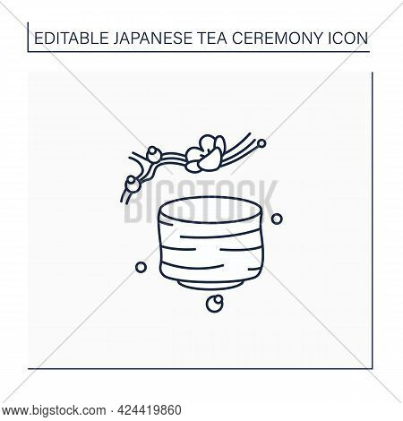Tea Bowl Line Icon.special Cup For Preparing And Drinking Tea. Japanese Ethnic And National Ceremony