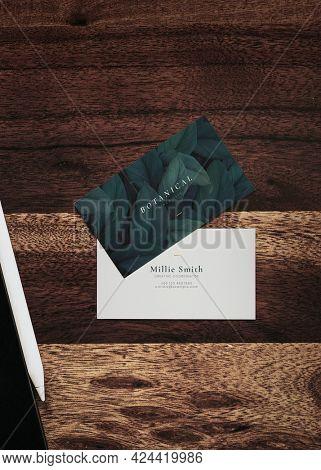 Botanical business card design mockup