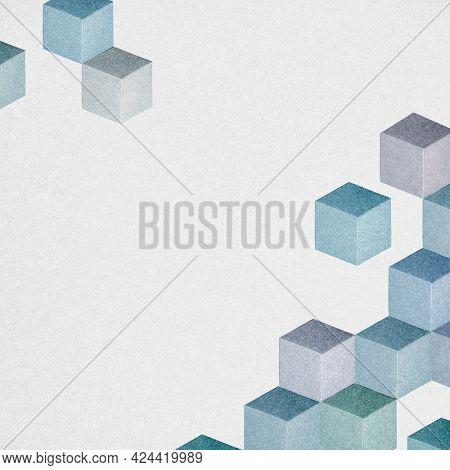 Blue cubic patterned design background